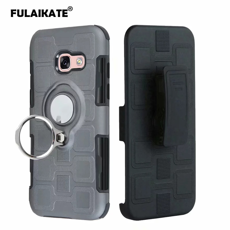 FULAIKATE 3 in 1 Ring Case for Samsung Galaxy A3 A5 A7 2017 Waist Clip Back Cover for J5 J7 2017 J6 Plus Ice Cube Phone Cases in Fitted Cases from Cellphones Telecommunications