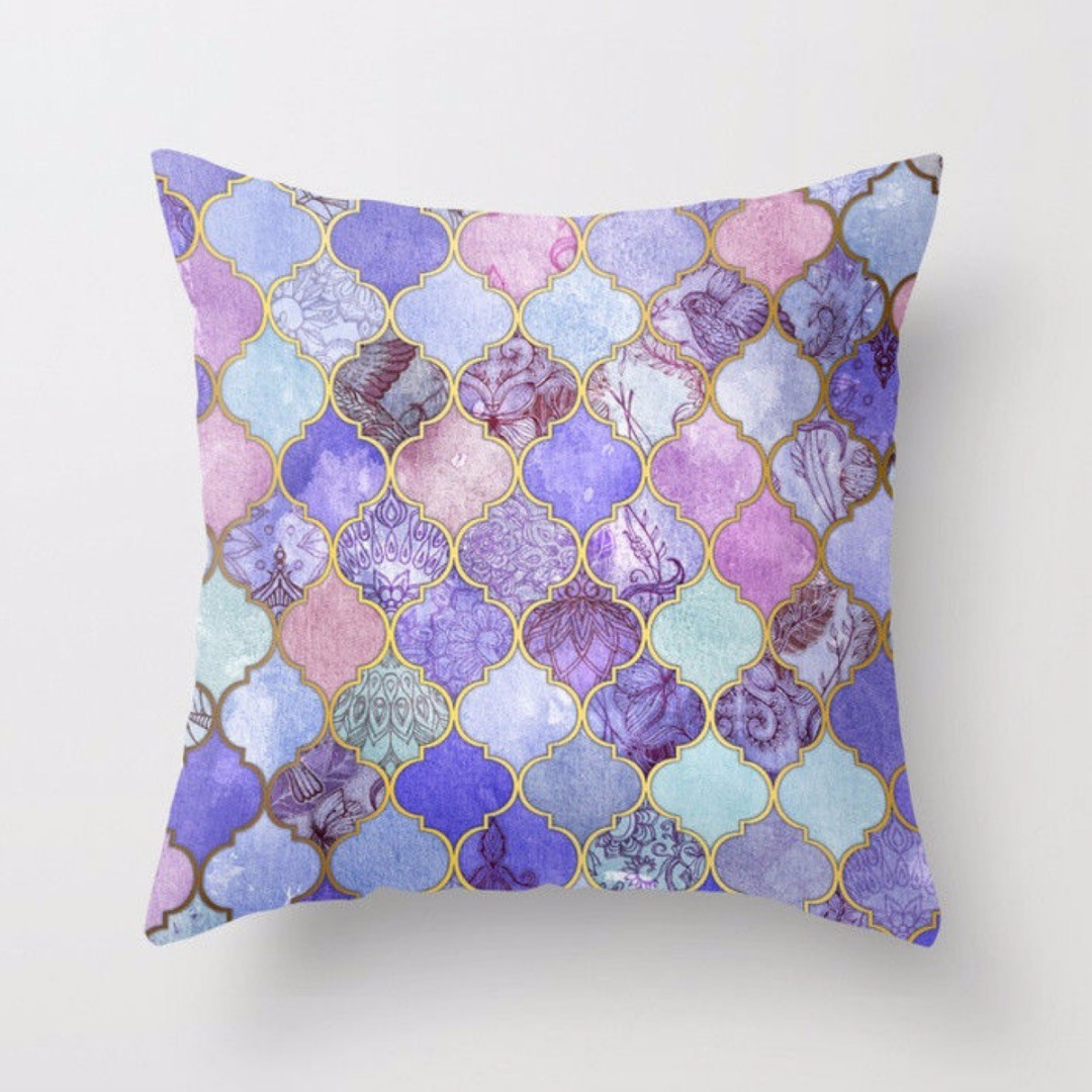 Mayitr 16 Styles Purple Printed Pillow Case Cotton Linen Cushion Cover Car Office Car Decoration Pillowcase Home Decor 45x45cm