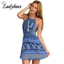 LADYBEES 2017 Summer Sexy Boho dresses Women Beach vestidos backless pleated maxi cross Totem Mini dress