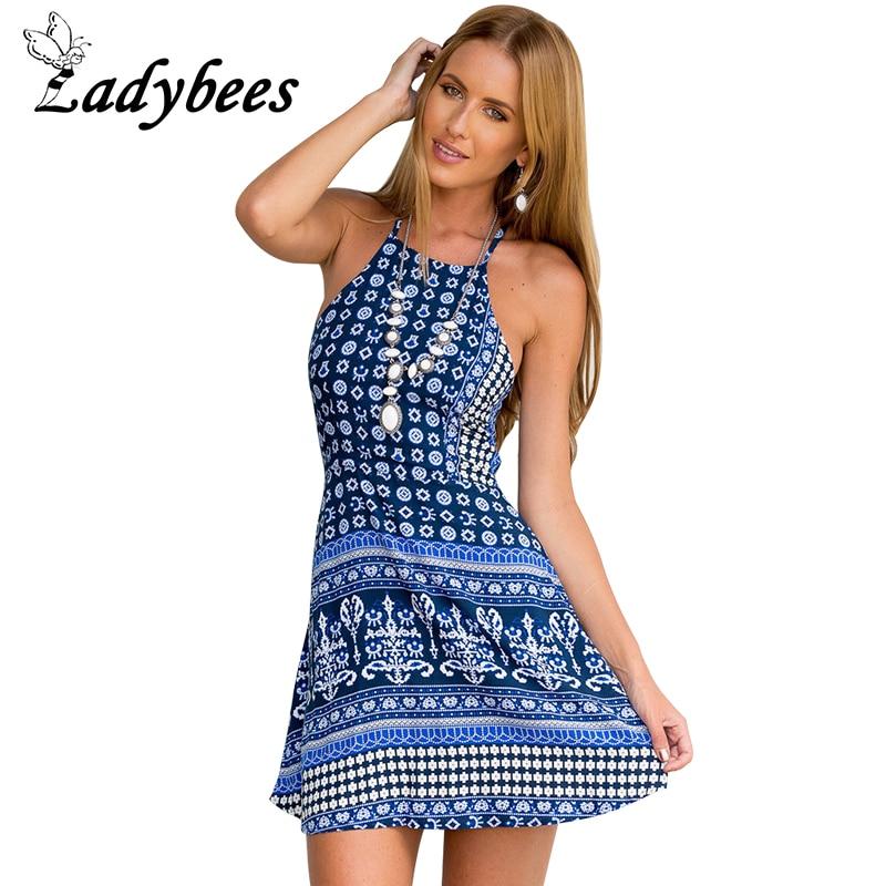 LADYBEES 2017 Summer Sexy Boho dresses font b Women b font Beach vestidos backless pleated maxi