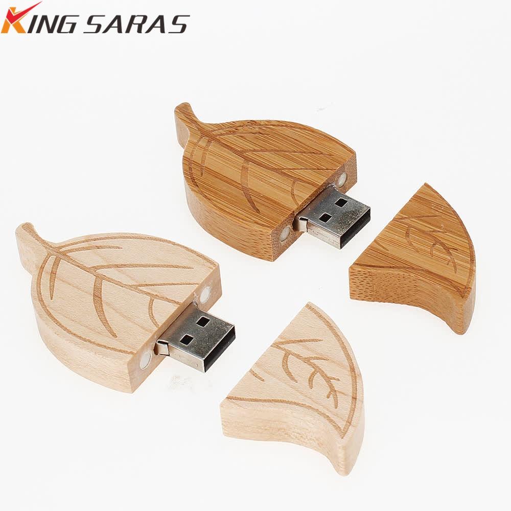 Natural Wood Bamboo Leaves Memory Stick U Disk + Pendrive Box 2.0 4G 8GB 16GB 32GB 64GB USB Memory Card Pen Wedding Gift