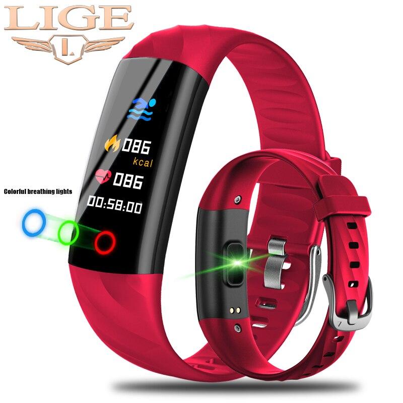 LIGE IP68 Inteligente Relógio Das Mulheres À Prova D' Água Esporte Pulseira Inteligente Relógio inteligente Monitor de Pressão Arterial e Freqüência Cardíaca de Fitness Rastreador