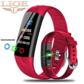 LIGE Smart Uhr Frauen IP68 Wasserdichte Sport Armband Smart Fitness Tracker Blutdruck Herz Rate Monitor intelligente Uhr