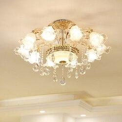 Europejski luksus kryształ salon światła wysokiej klasy lampy sufitowe nowoczesne proste mistrzem sypialnia światła Jane europa kreatywny w Żyrandole od Lampy i oświetlenie na