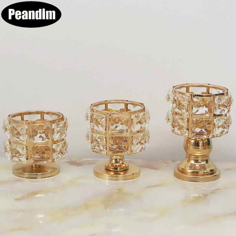 PEANDIM Small Crystal Candle Holder Gold Cute Tea Light Holder Wedding Decoration Table Centerpieces Candlestick For Party Home