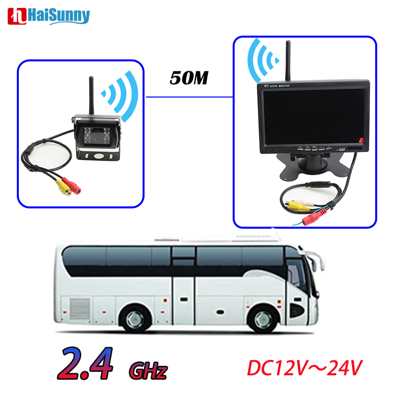HaiSunny 12V 24V Wireless Reverse Backup Camera With 7 Inch Full HD Parking Monitor For Trucks Bus Excavator Caravan RV Trailer byncg wireless car reverse reversing dual backup rear view camera for trucks bus excavator caravan rv trailer with 7 monitor