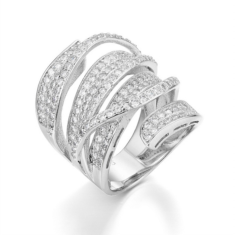 Vivid Finger Ring Unique Shaped 925 Sterling Silver Full Pave CZ Cocktail Rings for Womens wholesale Fashion jewellery size 5 10
