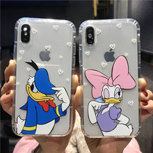 купить Clear Cartoon  Minnie Cases For iPhone 8 X 7 Plus XR XS MAX Cover For iPhone 7 6 6s Cute Donald Daisy Duck Soft TPU Fundas дешево
