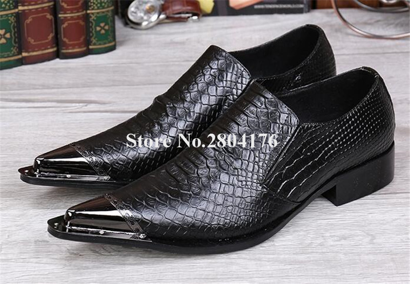 Hot Selling Men Fashion Metal Pointed Toe Black Pattern Leather Dress Shoes Slip-on Men Formal Business Shoes Wedding Shoes цена 2017