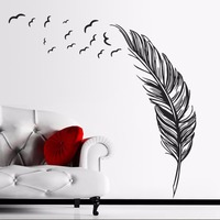 8014Z Large Feather Wall Sticker Home Decor Plume Wallpaper Poster Wall Art Decal Vinilo Decorative Pegatina