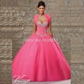 Beaded Sweetheart Bodice Corset Quinceanera Dress 2017 Hot Pink Tulle Ball Gown Debutante Gown With Tulle Jackets dress 15 years