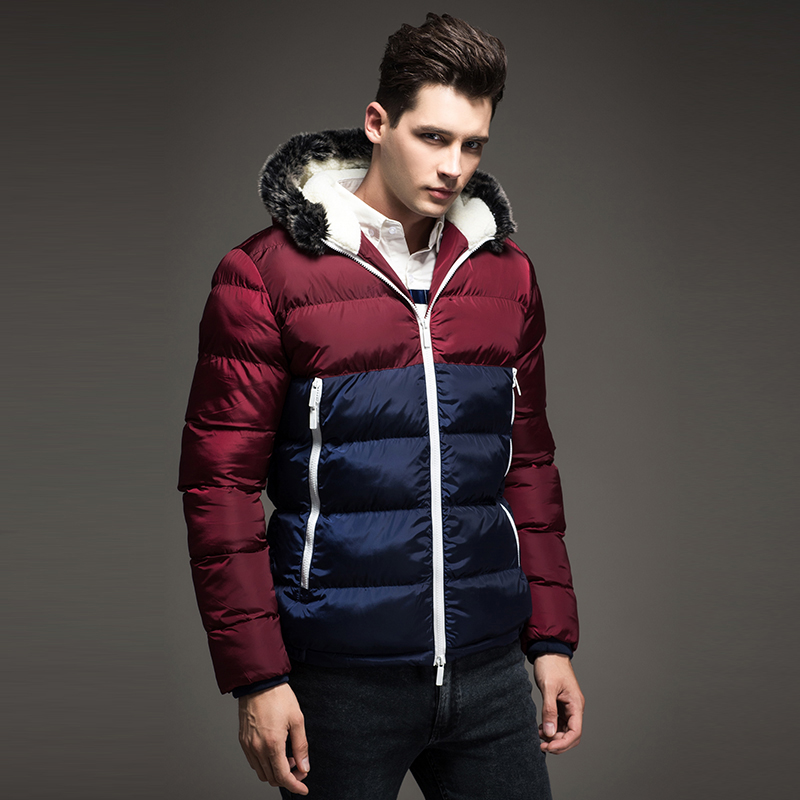 2018 New Contrast Color Mens Winter Jackets Warm Men's Parka Fur hood Men Coat Winter Casual Fit Thick Man Jacket fur contrast color men s cotton coat with hat