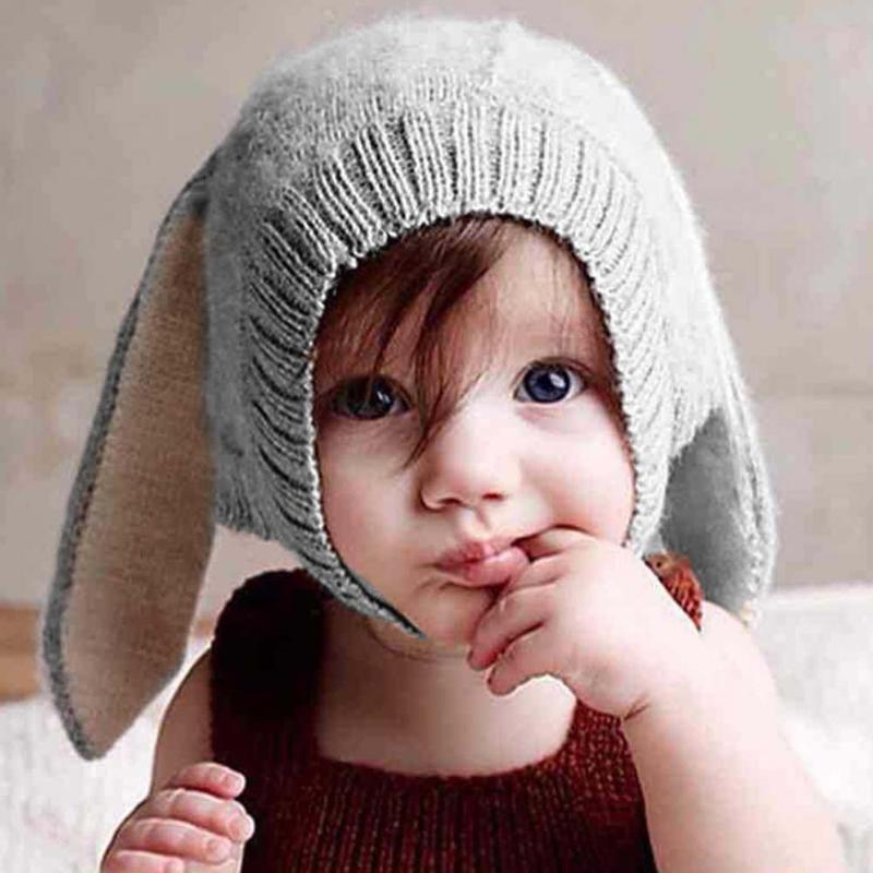 Baby Hat Kids Long Rabbit Ears Knitted Hat Winter Warm Fleece Solid Color Children Cap Fashion Toddler Boy Girl Bunny Beanie Cap