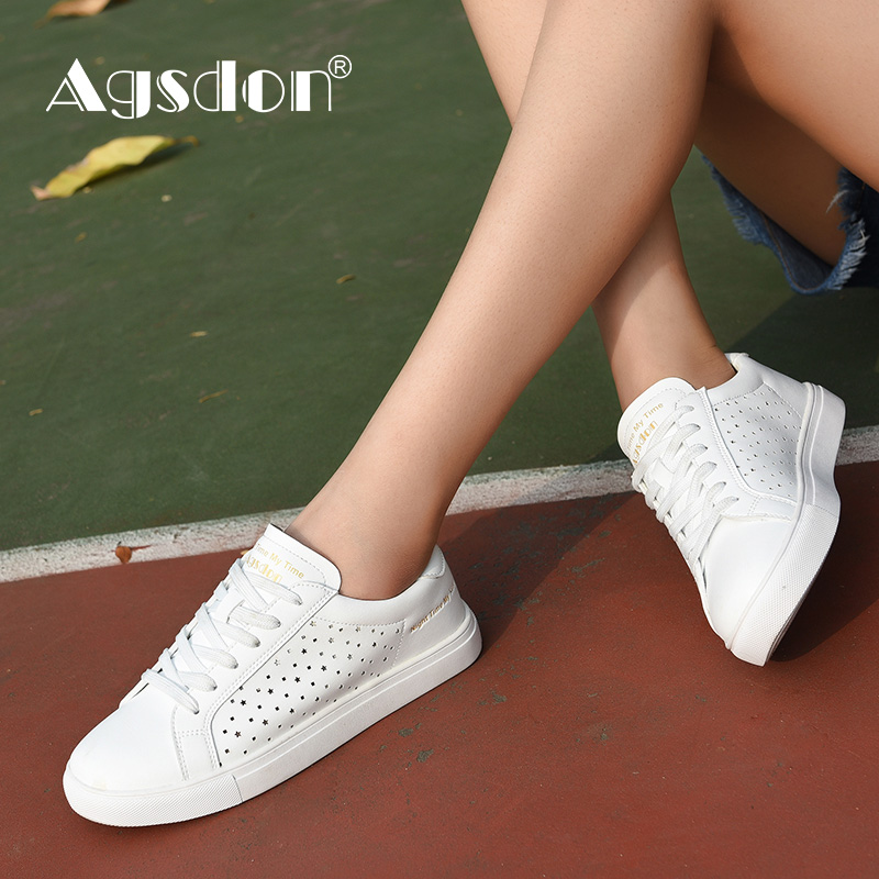Agsdon White Breathable Flat Fashion Sneakers Striped White Flat Light Shoes Comfortable Casual Shoes For Women Woman Sneakers цена 2017