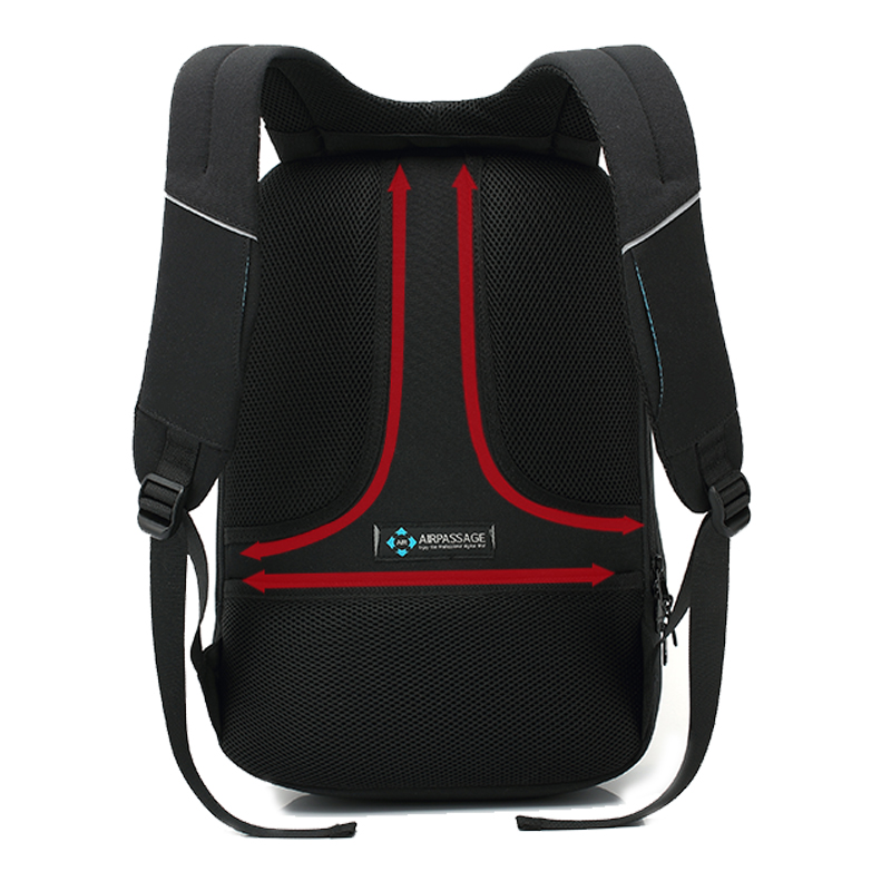 EURCOOL 15.6 pouces sac à dos pour ordinateur portable hommes USB Charge polyvalent hydrofuge voyage sacs à dos pour adolescents sac d'école noir n2830 - 6