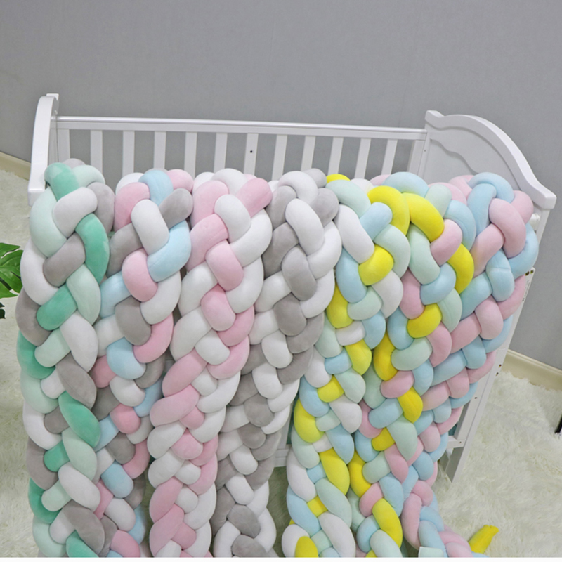 2M3M-4-Knot-Soft-Baby-Bed-Bumper-Crib-Sides-4-Braid-2-Meter-Newborn-Crib-Pad