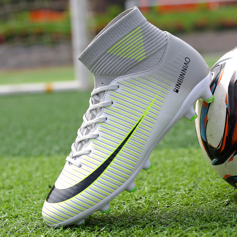 Hot Sale Mens Big Size Soccer Cleats High Ankle Football Shoes Long Spikes Outdoor Soccer Traing Boots for Men High Ankle F1818 outdoor boys soccer shoe little kid big kid synthetic leather upper rubber soles casual light weight men shoes cleats football