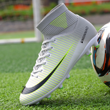Купить с кэшбэком Hot Sale Mens Big Size Soccer Cleats High Ankle Football Shoes Long Spikes Outdoor Soccer Traing Boots for Men High Ankle F1818