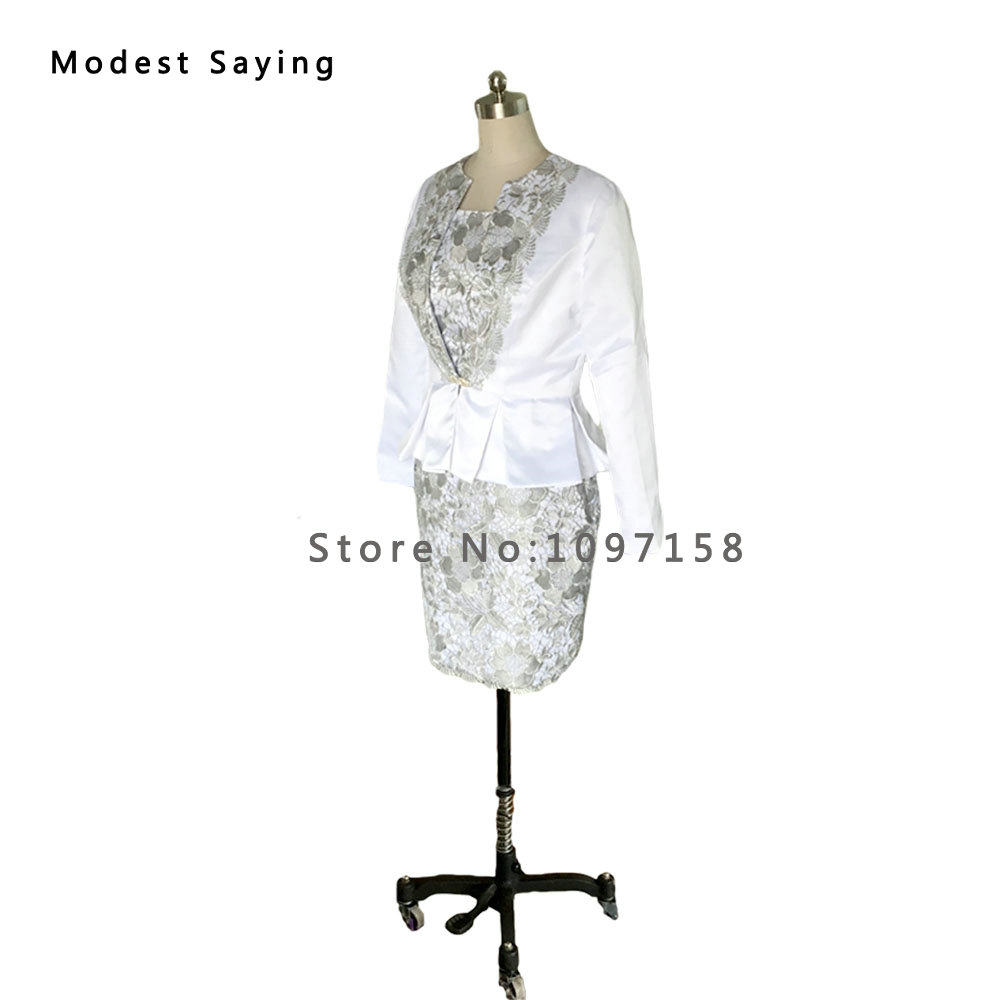 Real Elegant Sheath Long Sleeve Lace Mother Of The Bride Dresses