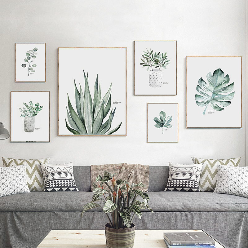 HTB1ikTWV4YaK1RjSZFnq6y80pXay Simple Watercolor Vase Green Plant Art Poster Wall Art Print Canvas Painting Picture Modern Home Living Room Decoration Custom