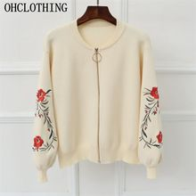 OHCLOTHING spring large size women embroidered sweater long sleeve zipper cardigan