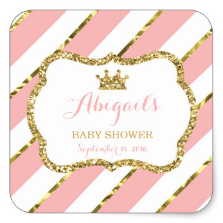 3.8cm Little Princess Baby Shower Sticker, Pink, Gold Square Sticker