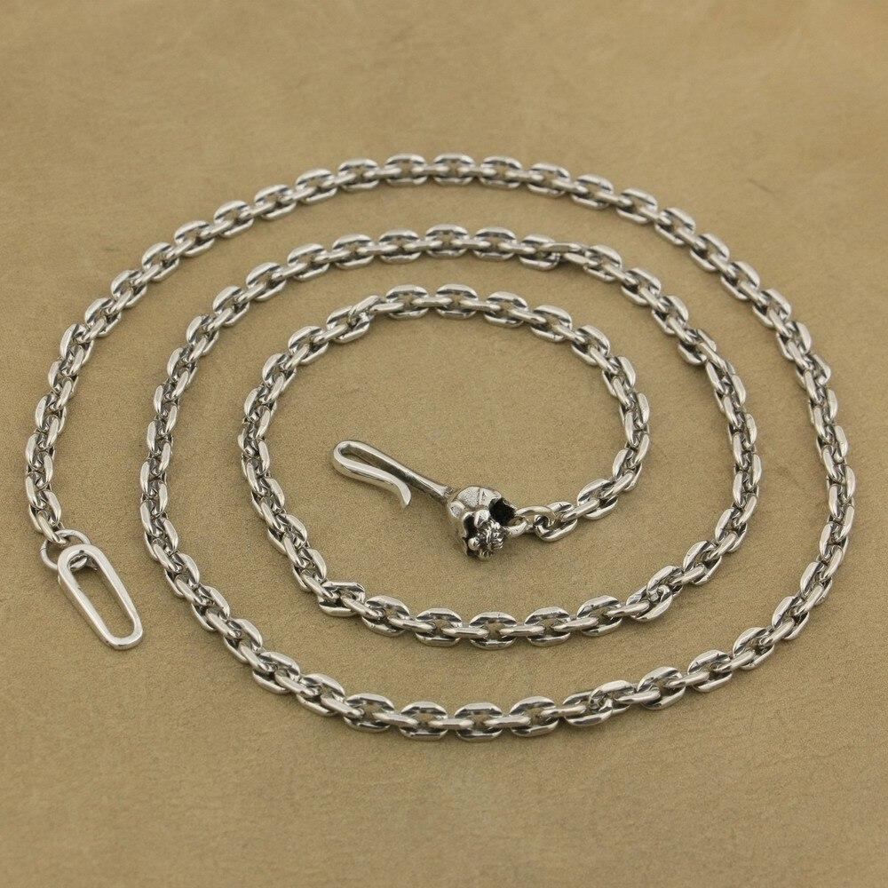 Chaîne à maillons carrés de 4mm en argent Sterling 925 collier à fermoir avec crochet en forme de crâne TA35A