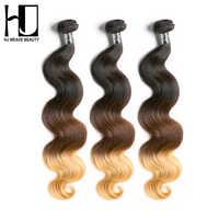 HJ 織り美容 8A オンブルブラジル髪織りバンドルバージンヘア実体波 1b #6 #27 3 ピース/ロット人毛織り送料無料