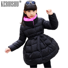 Keruishu Girls Parkas Coats Kids Solid Color Bow belt Outerwear Baby Winter Cotton Zipper Thicken Warm Dress Princess Robe Coat