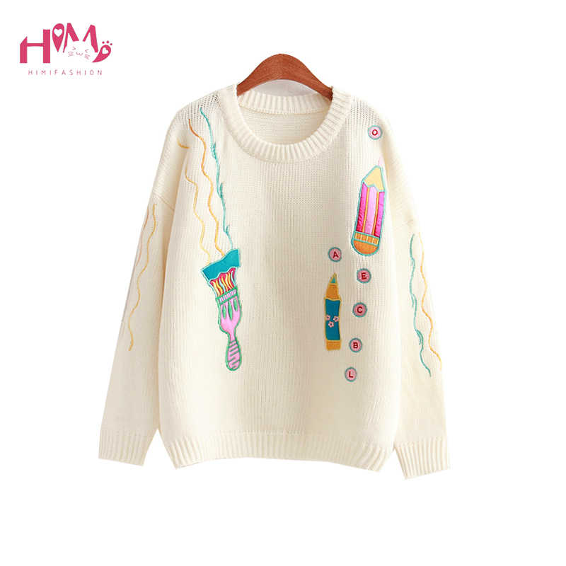 Autumn Japanese Style Pencil Embroidery Sweater For Women Knitted Loose Oversized Sweaters Funny Printed Student Cute Sweaters Aliexpress