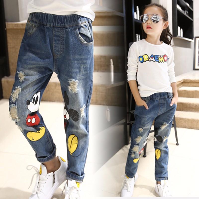 2016-Autumn-New-Mickey-Cartoon-Printed-Elastic-Waist-Korean-Girls-Children-Denim-Jeans