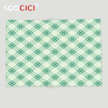 b308c2500b Custom Soft Fleece Throw Blanket Mint Old Fashion Striped Pattern with  Geometrical Details Checkered Simple Tile
