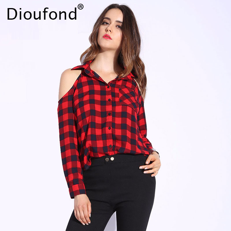 Dioufond spring red plaid off shoulder tops shirts for Womens red plaid shirts blouses