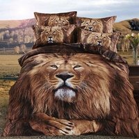 4Pcs 100% Cotton Queen size Luxury 3D Animal Bedding set Cool Duvet Cover Set Bed sheet Pillowcase lion leopard Panther tiger