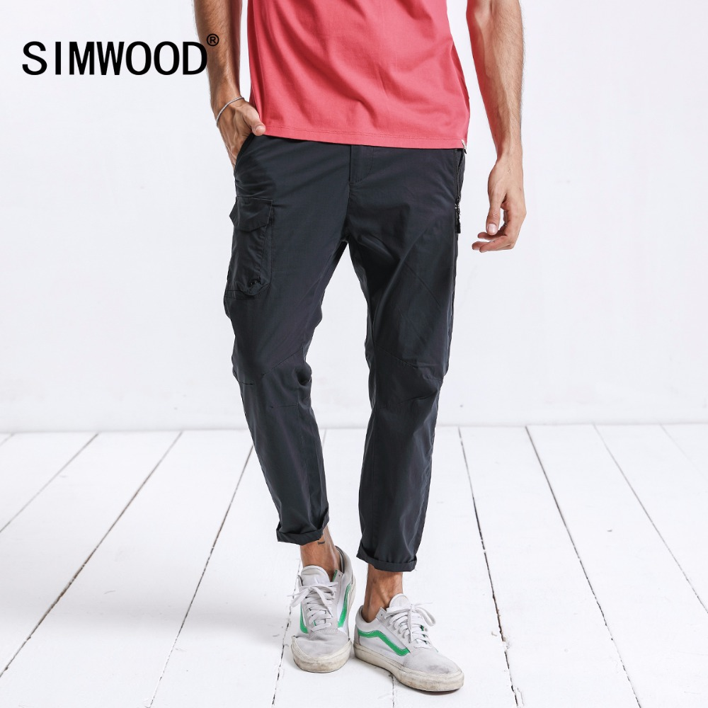 SIMWOOD New 2018 Summer Casual Pants Men Slim Fit High Quality Fashion Male Plus Size Brand Trousers Free Shipping 180256 2017jeans men new arrival brand clothing blue slim fit casual stretch denim pants high quality plus size free shipping