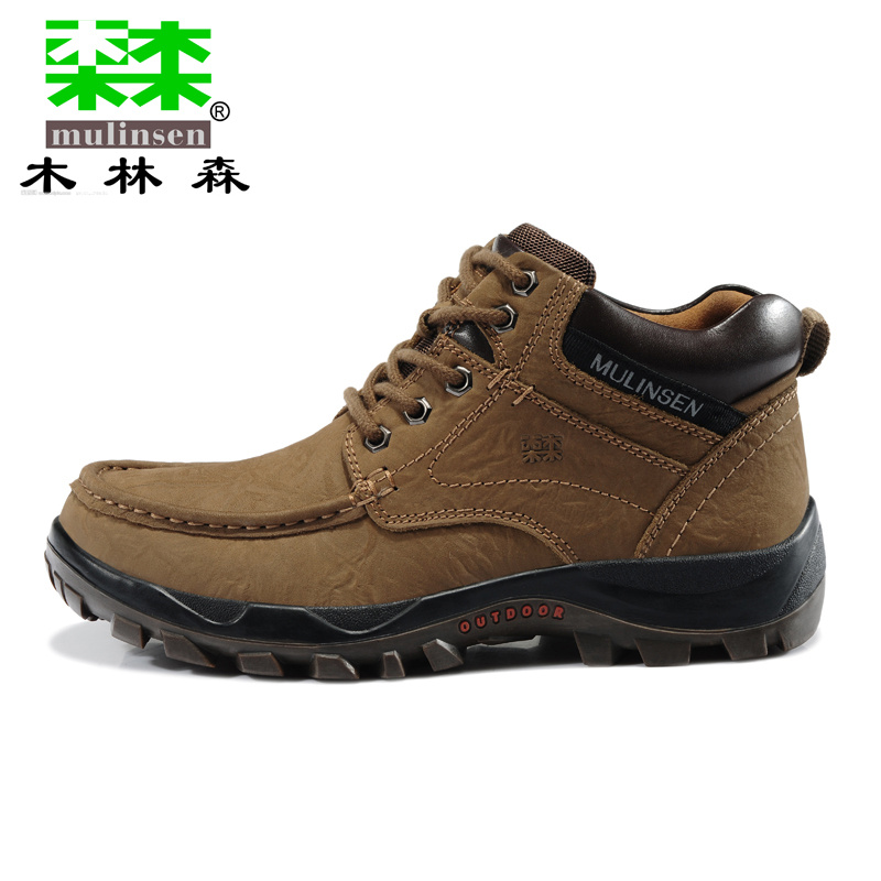 MULINSEN Mens High Top cow Leather Outdoor Trekking Hiking Shoes Boots For Men on sales yin qi shi man winter outdoor shoes hiking camping trip high top hiking boots cow leather durable female plush warm outdoor boot