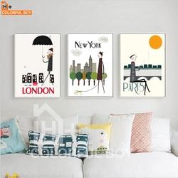 Lieblich COLORFULBOY Moderne Stadt Eigenschaften Landschaft Wetter  Wandbilder Für Wohnzimmer Cartoon Kunst Leinwand Druck Dekoration Malerei
