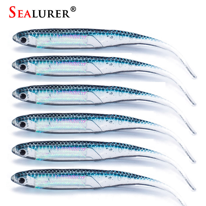 SEALURER 6pcs/lot 2.6g/90mm for Fishing Shad Worm Swimbaits Fly Fishing Fishing Lures