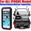 Case Для IPHONE 7 Plus 6 S PLUS SE 5S 4S Heavy Duty падение Водонепроницаемый Алюминиевый Металл + Закаленное стекло Телефон Обложка для iphone7 IP653