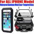 Case para iphone 7 plus 6 s plus se 5S 4S heavy duty gota A Prueba de agua Cubierta Del Teléfono Del Metal de Aluminio + vidrio Templado para iphone7 IP653