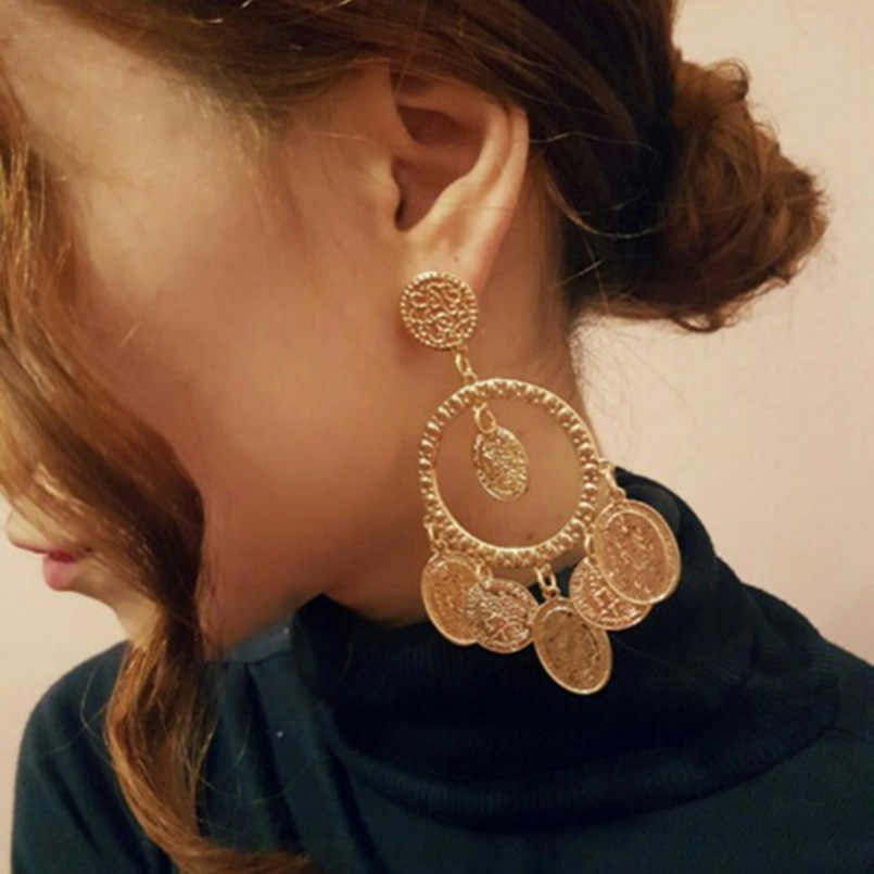 UKMOC Fashion Big Coins Dangle Earrings For Women Boho Vintage Drop Earring Statement Jewelry Pendientes Gold Color