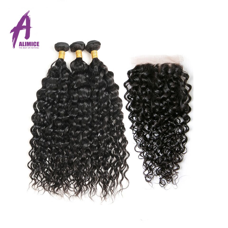 Alimice Hair Water Wave Bundles With Closure Brazilian Hair Weave Bundles With Closure Remy Human Hair