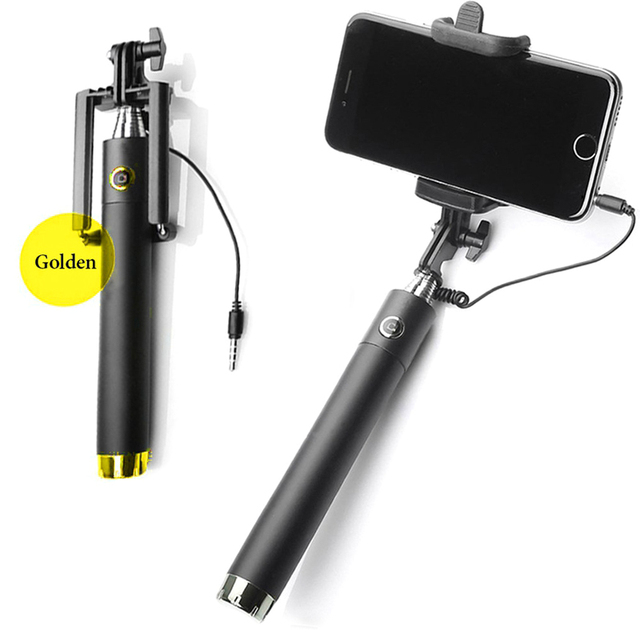 Luxury Extendable Folding Wired Selfi Self Selfie Stick Monopod For Samsung Galaxy S5 Note3 iphone 6 5S Perche Selfies Selfiepod