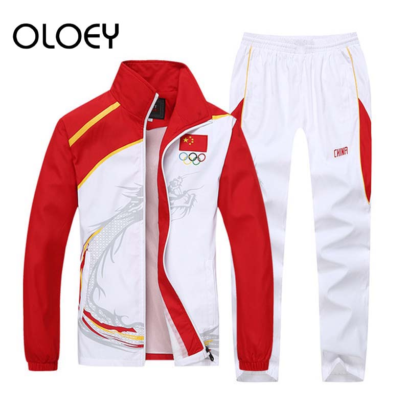 Men Set Zip Stand Collar Sport Suit Mens Tracksuit Jogging Sweatsuit Sweatshirt Track Pants Joggers Olympia Sweat Suit Male Set