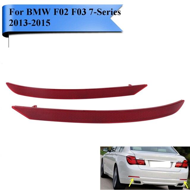 2x Red Lens Rear Reflector Bumper Warning Strips For BMW F01 F02 F03 740i 750i 760Li 2013 2014 2015 Auto Car Styling #W098