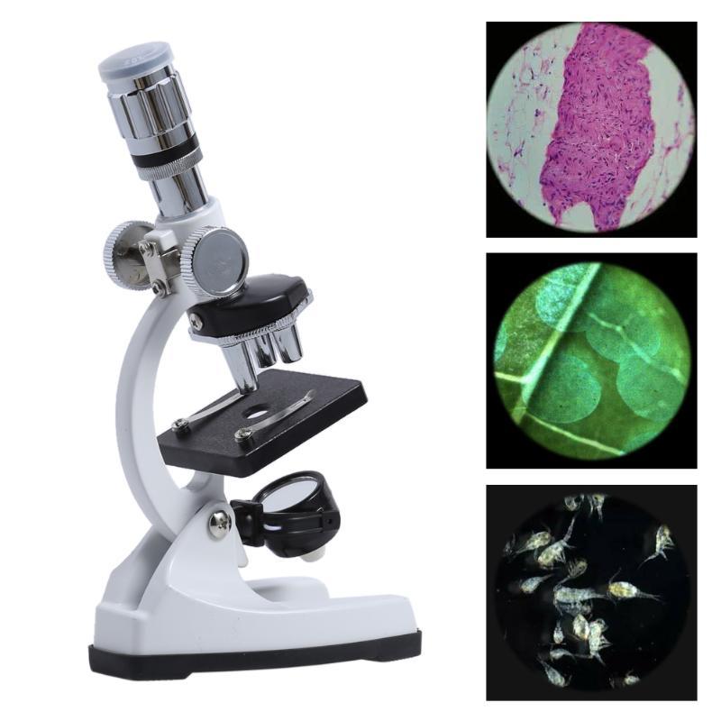 купить 100X/600X/1200X Biological Microscope Kit Lab 3 Magnification Settings School Educational Toy Gift for Kid Children Students по цене 2220.12 рублей