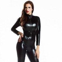 Manga larga Mujer Zentai mono Sexy negro brillante de látex de cuerpo  completo Zentai traje de Lycra Spandex Zentai Catsuit 3f2d77f17757