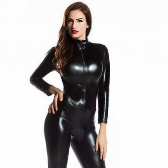 Womens Long Sleeve Zentai Bodysuit Jumpsuit <font><b>Sexy</b></font> Black Shiny Latex Full Body Zentai Suit <font><b>Lycra</b></font> Spandex Zentai <font><b>Catsuit</b></font> image