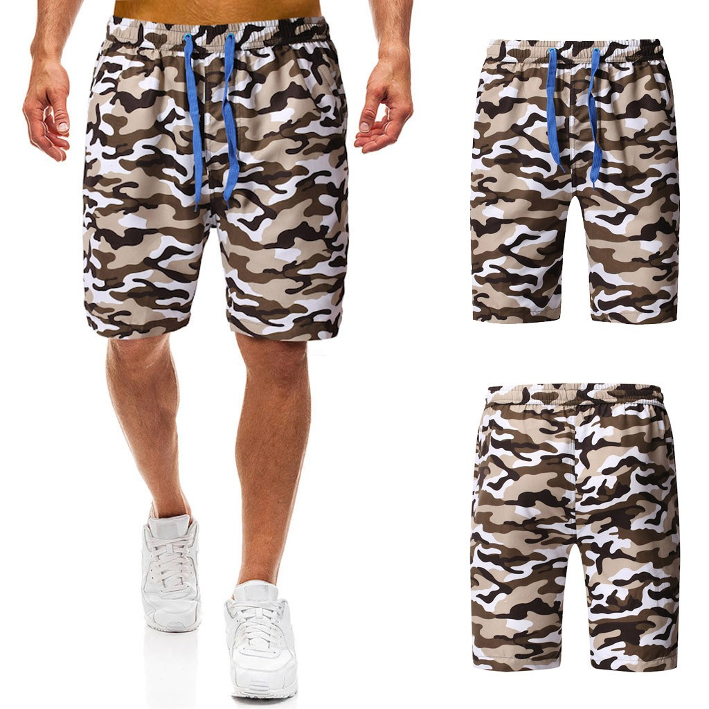 2019 Men's Summer Camouflage Printed Trunk Quick-drying Beach Surf Running Shorts 7.12(China)