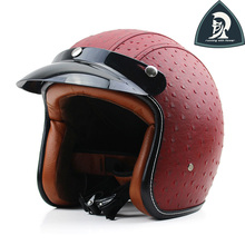 2016 New Women and  Mens Leather Open Face Helmets For Motorcycle Vintage Half Face Helmet  For Adults Scooter Helmets XXL Dot
